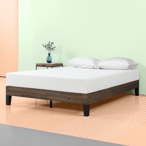 Priage by ZINUS Brown Wood Platform Bed Frame