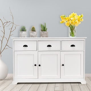 Gymax 3 Drawers Sideboard Buffet Table Storage Console Cabinet Entryway Cupboard White