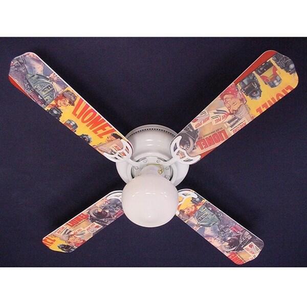 Nostalgic Lionel Trains Print Blades 42in Ceiling Fan Light Kit - Multi