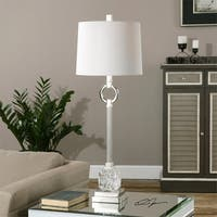 "34"" Bordolano Polished Nickel Buffet Lamp with Ivory Linen Fabric Shade"