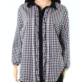 Tommy Hilfiger NEW Black White Gingham Ruffled Medium M Buttoned Blouse