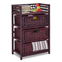 Gymax Storage Chest Tower Shelf 3 Drawer Wicker Baskets Storage Unit - As pic