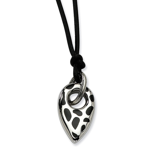 Chisel Stainless Steel Black Resin Cheetah Print Pendant 18 with 2 Inch Extension Necklace (2 mm) - 18 in