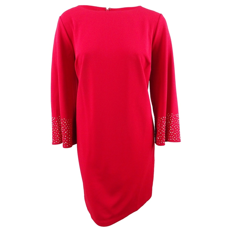 Jessica Howard Womens Plus Size Studded Flare-Sleeve Shift Dress - Red