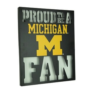 Proud To Be A Michigan Fan LED Lighted Cutout Metal Wall Sign - Yellow