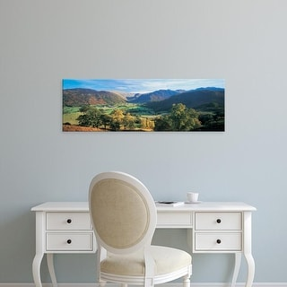 Easy Art Prints Panoramic Images's 'View of trees on the mountainside, Borrowdale, Lake District, England' Canvas Art