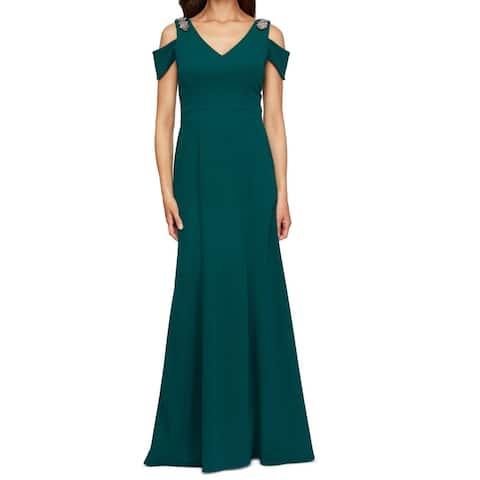 Alex Evenings Women's Dress Green Size 10 Bling Cold Shoulder Gown