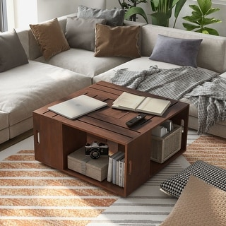 Link to Furniture of America Masa Contemporary Walnut Open Shelf Coffee Table Similar Items in Living Room Furniture