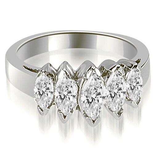 1.75 cttw. 14K White Gold Marquise Diamond 5-Stone Wedding Band