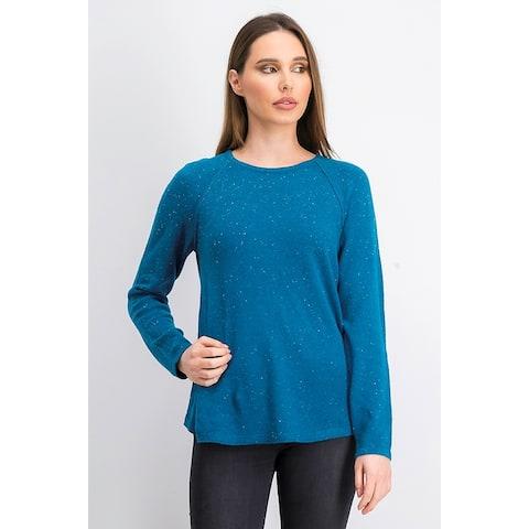 Karen Scott Women's Curved-Hem Sweater Blue Size Large