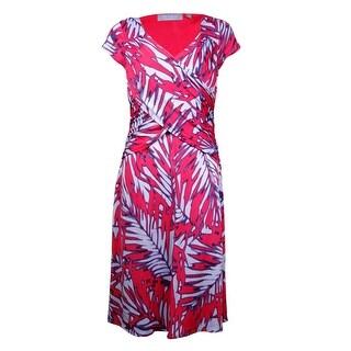 NY Collection Women's B-Slim Ikat Print Jersey Dress