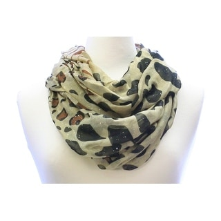 Glitter Animal Print Wide Infinity Scarf Lightweight