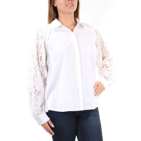 DKNY Womens White Lace Cut Out Cuffed Collared Button Up Top Size: L