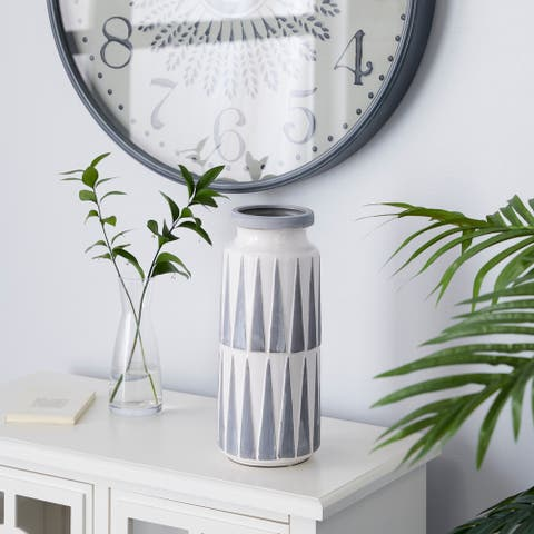 Grey Ceramic Traditional Vase 13 x 6 x 6 - 6 x 6 x 13
