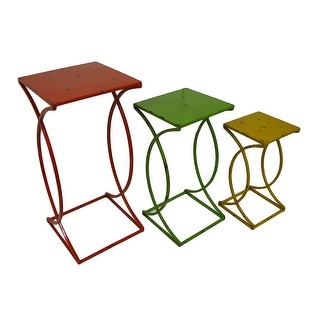 Set of 3 Distressed Finish Metal Nesting Side Tables - Multicolored