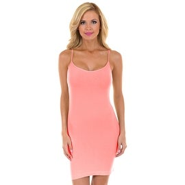 PINK Womens Seamless Long Strechable Camisole Slip Dress