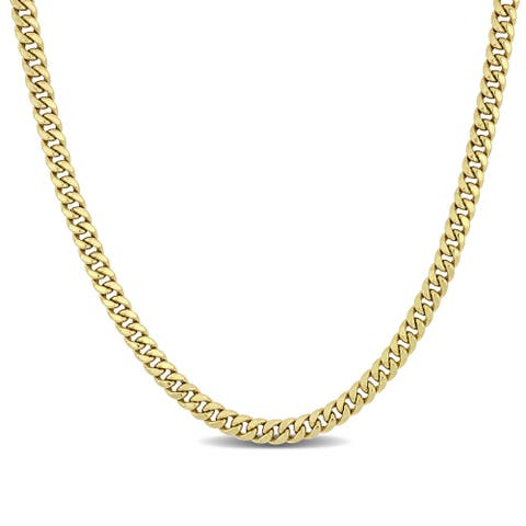 Miadora 18k Yellow Gold Men's Flat Curb Chain Necklace - 22 inch x 5.5 mm x 2.5 mm