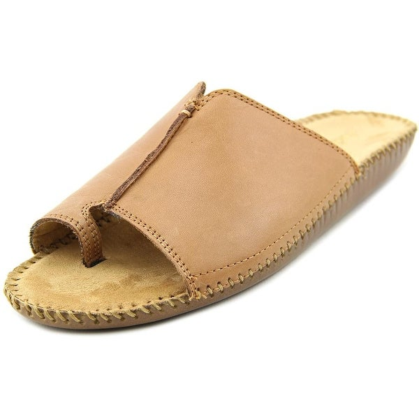 Auditions Sprint Women WW Open Toe Leather Tan Slides Sandal