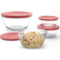 Anchor Hocking Mixing Bowl Set Red Lid 6Pc 92224 Pack Of 2