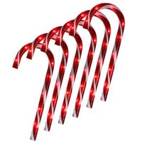 Set of 6 Lighted Blinking Outdoor Candy Cane Christmas Pathway Markers - Red