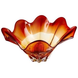 "Cyan Design Large Lily Bowl  Lily 21.5"" Diameter Glass Decorative Bowl - Amber"