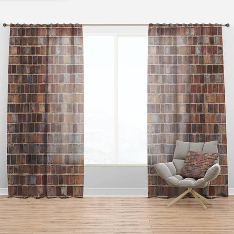 Designart 'Red Brick WallTexture' Modern Curtain Panel