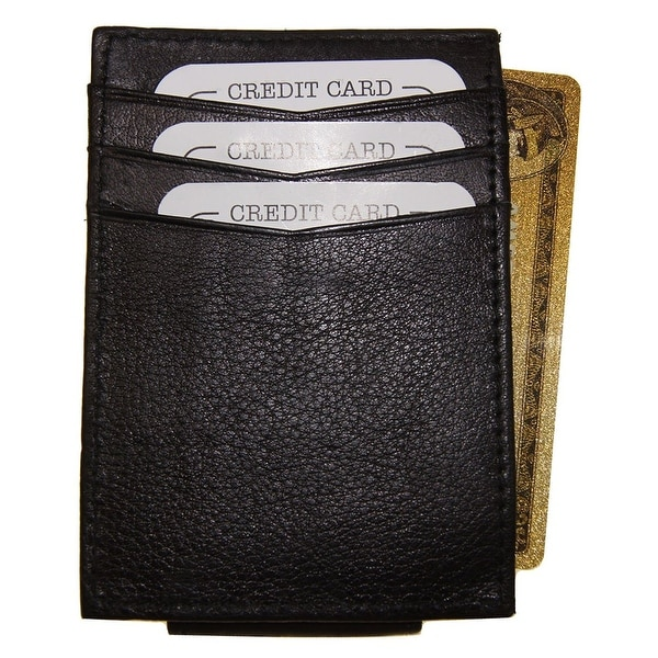 Improving Lifestyles Leather Black Magnetic Money Clip Black & Organza Gift Bag