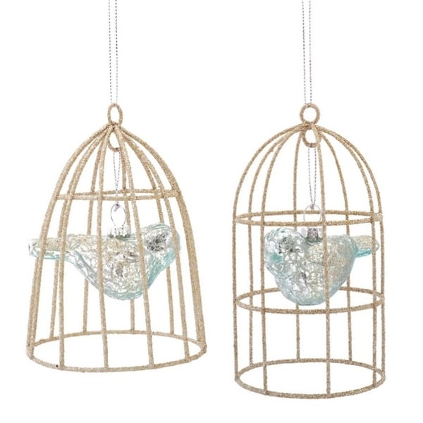 """Pack of 6 Sky Blue Mercury Glass Bird in Cage Christmas Ornaments 5""""-5.5"""""""