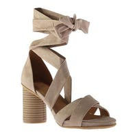 Kenneth Cole Reaction Women's Rita Lita Lace Up Sandal Taupe Microsuede