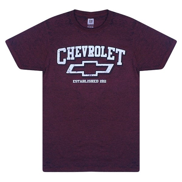 8c7895c8 General Motors Chevrolet Logo Graphic Printed on Chest Men's T-shirt,  Burgundy