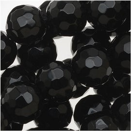 Black Agate Faceted Round Gemstone Beads 8mm - 15 Inch Strand