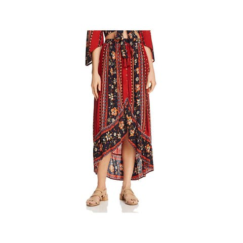 Band of Gypsies Womens Maxi Skirt Hi-Low Button Front
