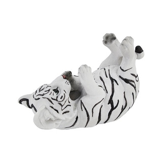 White Bengal Tiger Cub Tabletop Single Wine Bottle Holder Display - 6.5 X 9.5 X 4.5 inches
