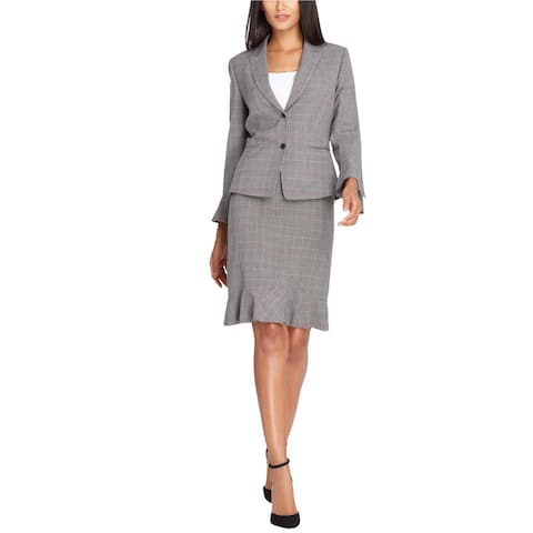 Tahari Womens Ruffled Midi Skirt, Grey, 10P