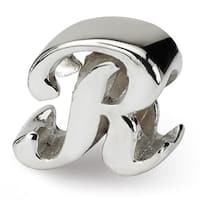 Sterling Silver Reflections Letter R Script Bead (4mm Diameter Hole)