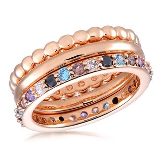 Link to Forever Last 18 kt Gold Plated Women's Stackable Ring Colored Cubics Similar Items in Rings