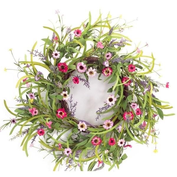 Pack of 4 Decorative Springtime Wild Flower Bloom Wreath - Green
