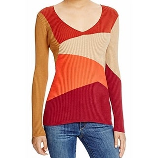 Vince Camuto NEW Red Women's Size Large L V-Neck Colorblock Ribbed Sweater