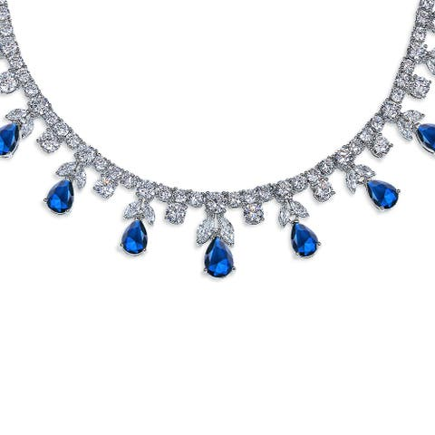 Blue CZ Multi Teardrop Imitation Sapphire Statement Necklace Silver - 15