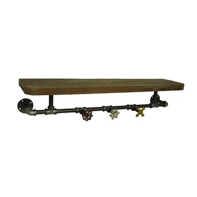 Rustic Industrial Pipe & Faucets Wood Wall Hook Shelf - 6 X 31.5 X 7.5 inches