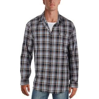 G.H. Bass & Co. Mens Button-Down Shirt Plaid Flannel