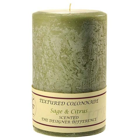 1 Pc Textured 4x6 Sage and Citrus Pillar Candles 4 in. diameterx6.25 in. tall