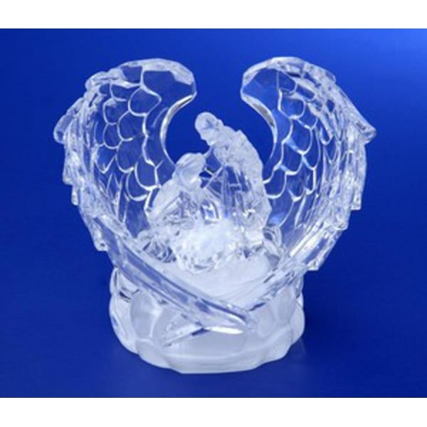 "Pack of 6 Icy Crystal Illuminated Religious Holy Family Angel Wings Figurines 3"" - CLEAR"