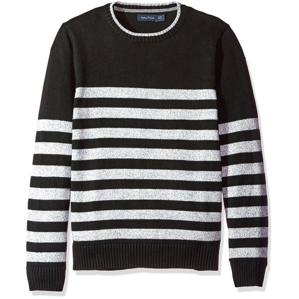 Shop Nautica Black White Mens Size Medium M Crewneck Striped Sweater