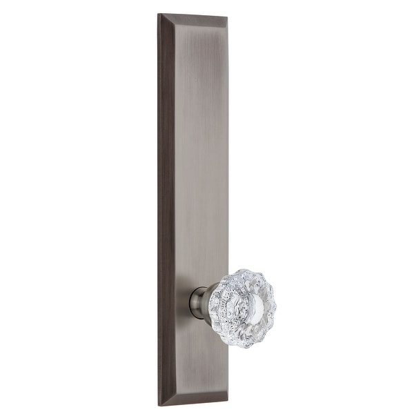 Grandeur FAVVER_TP_PRV_234_RH Fifth Avenue Solid Brass Tall Plate Right Handed Privacy Door Knob Set with Versailles Crystal