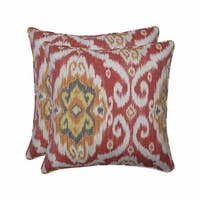 """Set of 2 Orange and Gray Damask Patterned Square Throw Pillows 18.5"""""""