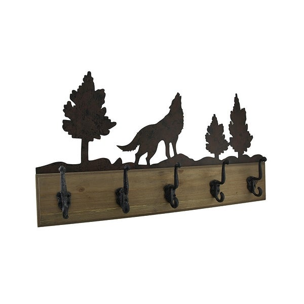 f5e9a416 Wood and Metal Howling Wolf Forest Shadow Wall Hook Hanging. Click to Zoom