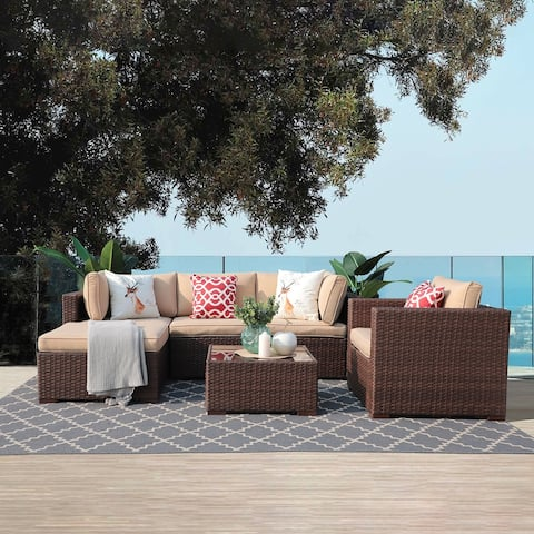 6-Piece Patio Wicker Sectional Sofa Set with Cushions and Coffee Table
