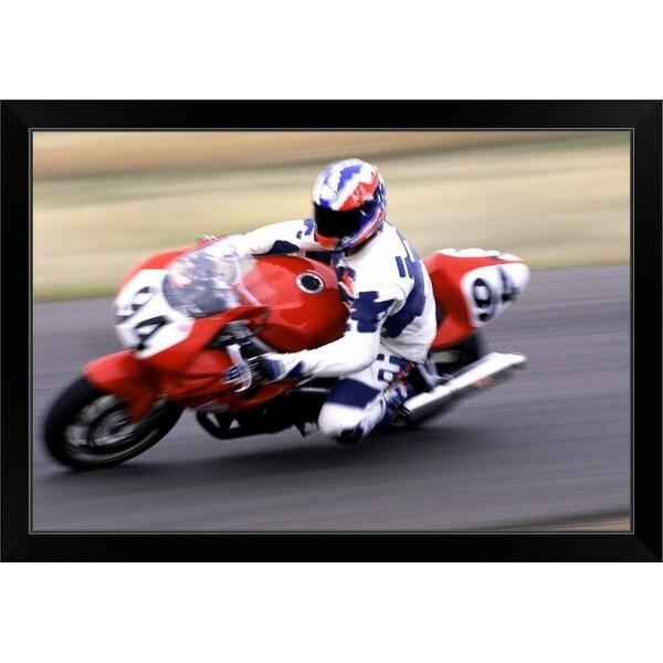 """Person racing motorcycle"" Black Framed Print"