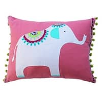 Vivai Home Pink Elephant Applique Rectangle 12x 16 Feather Cotton Pillow